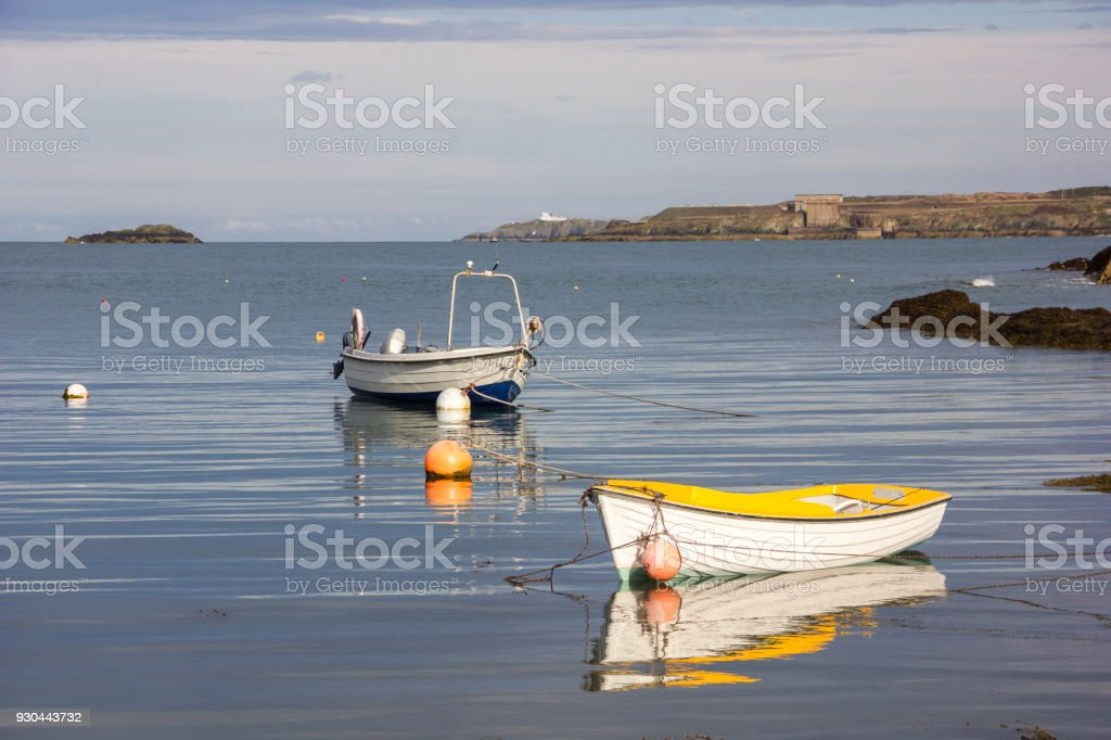 Boats in the Harbour in Anglesea, Wales, UK stock photo