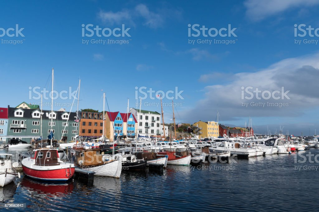 boats in the haven of Torshavn at the Faroe Islands boats in the haven of Torshavn at the Faroe Islands. Atlantic Ocean Stock Photo