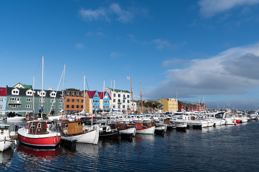 Boats In The Haven Of Torshavn At The Faroe Islands Stock Photo - Download Image Now