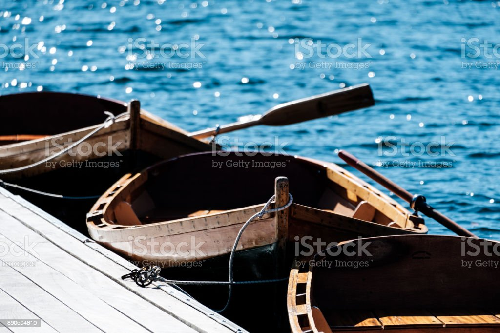 Boats in the lake stock photo