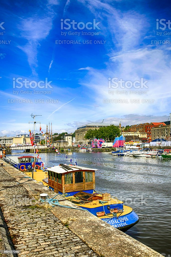 Boats in the Lower Docks area of Bristol, UK stock photo