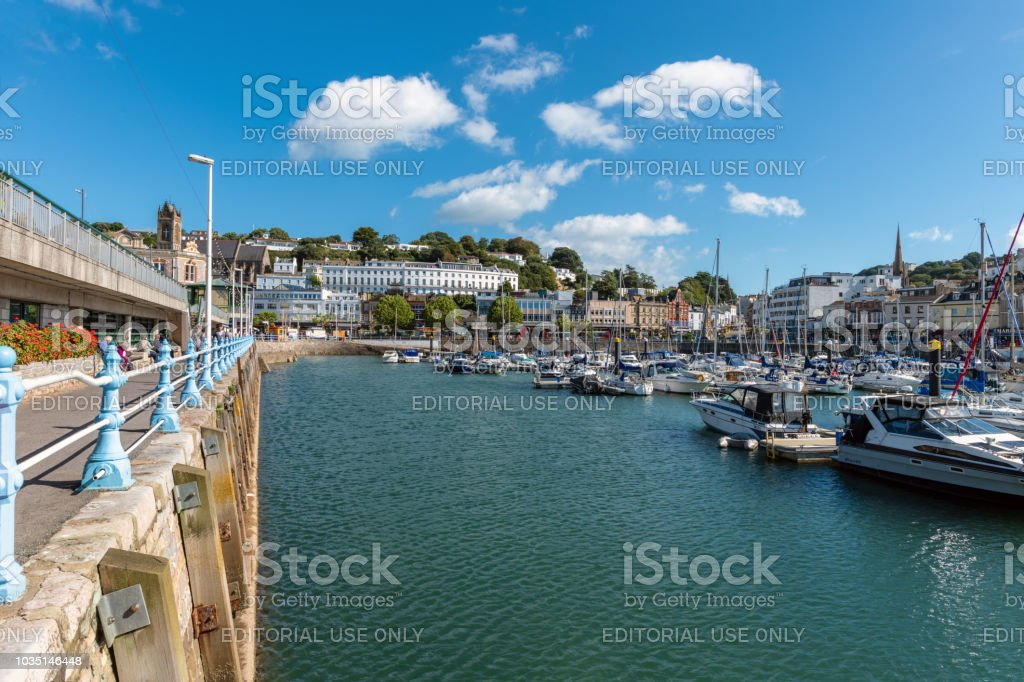 Boats in the marina in Torquay, Devon stock photo