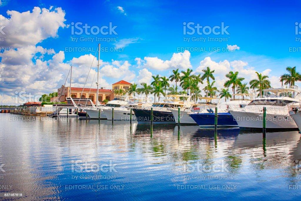 Boats in the Marina on the Manatee River at Bradenton, FL USA stock photo
