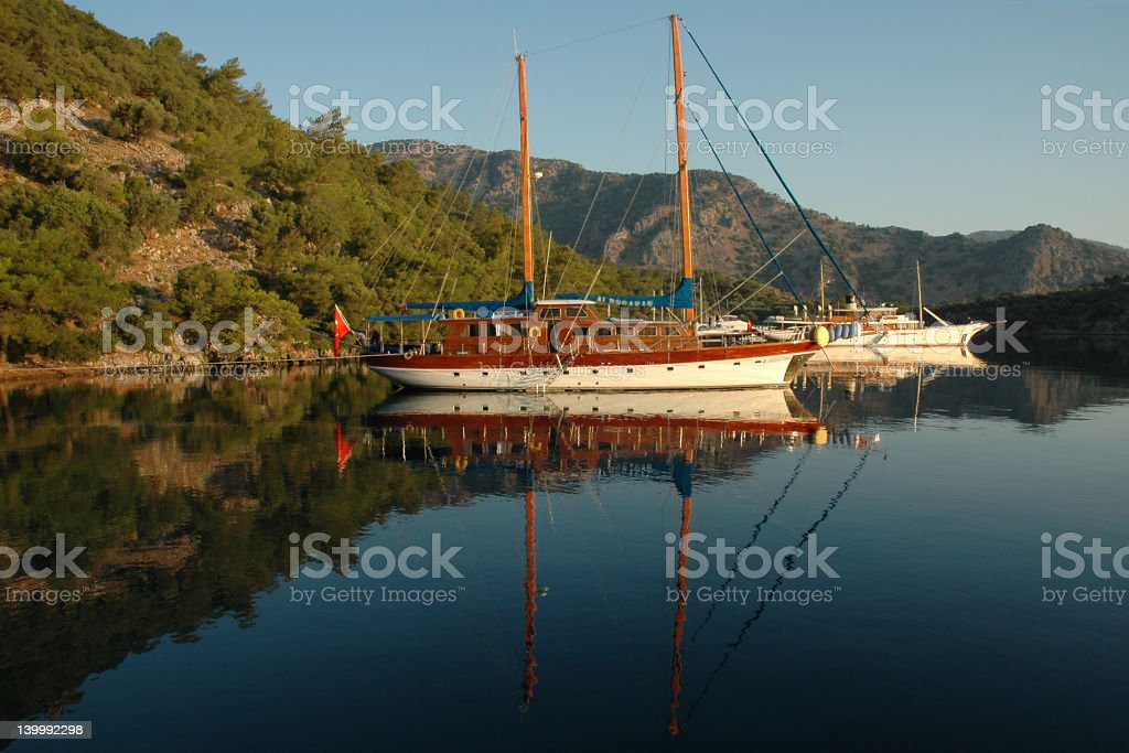 Boats in the Mediterranean, early morning royalty-free stock photo