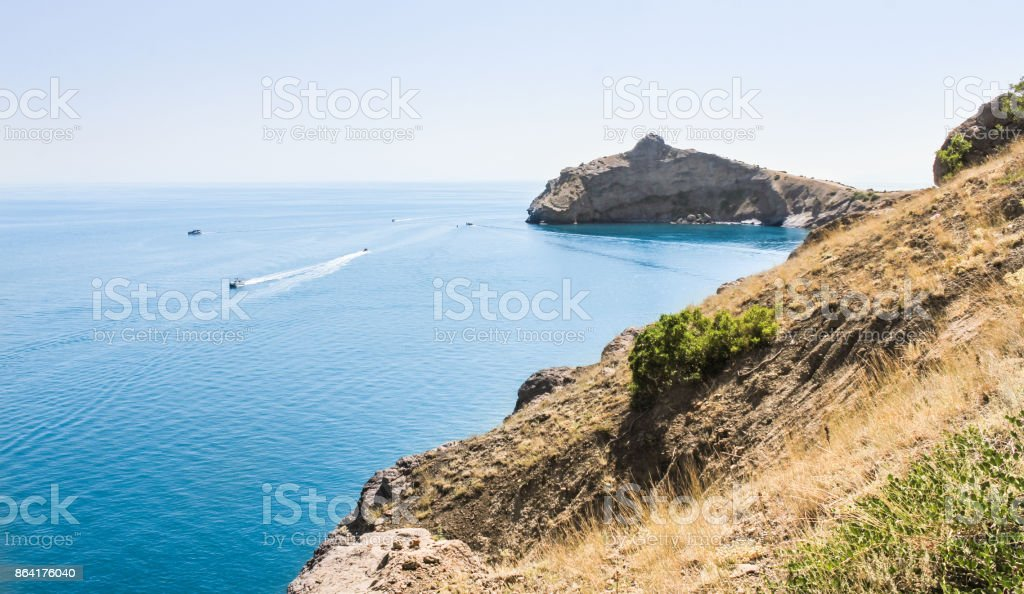 Boats in the sea off the coast. royalty-free stock photo