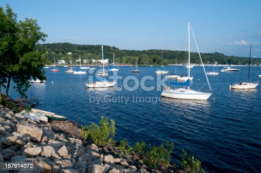 Sailboats and yachts on the St. Croix River bordering Minnesota and Wisconsin.