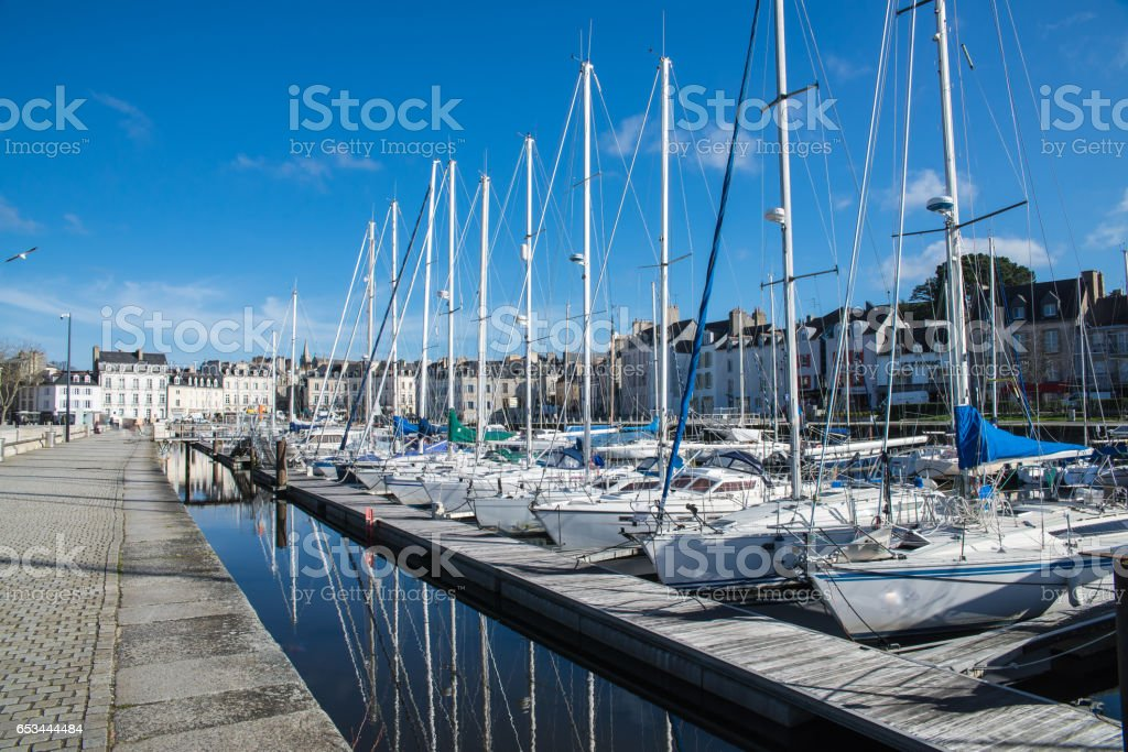 Boats in Vannes harbor, Brittany stock photo