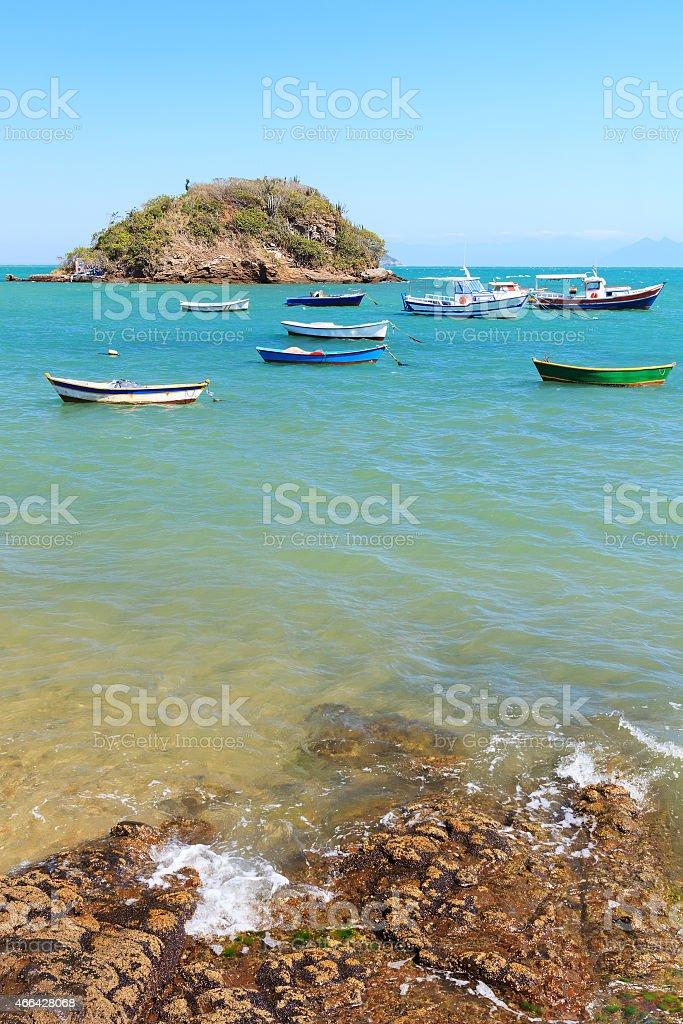Boats, island,  sea in Armacao dos Buzios, Rio de Janeiro stock photo