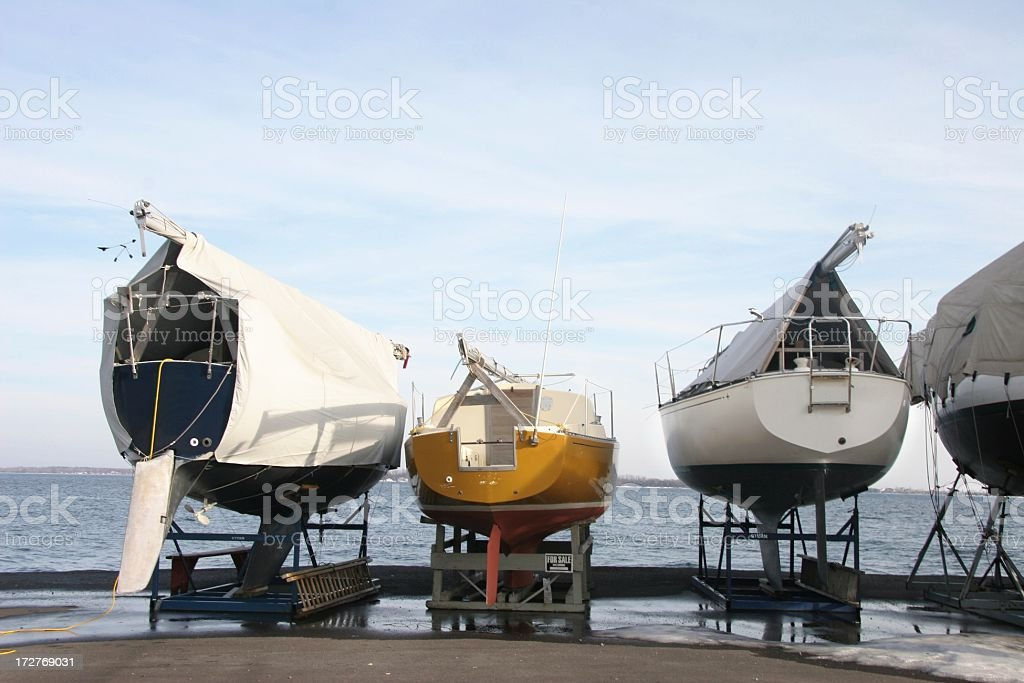 Boats Laid up for Winter stock photo