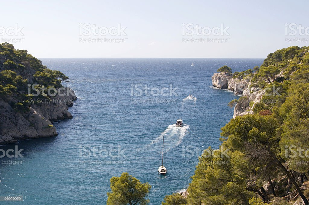 Boats Leaving Les Calanques royalty-free stock photo