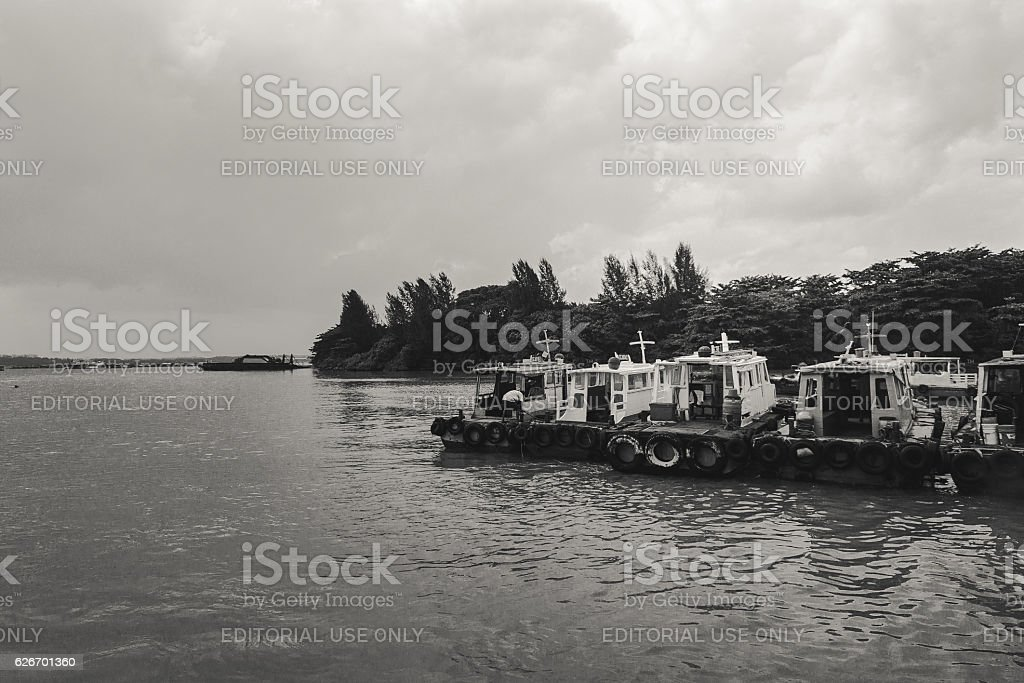 Boats lined up stock photo
