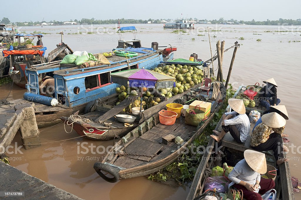 Boats Loaded With Passengers And Coconuts In Vinh Long, Vietnam stock photo