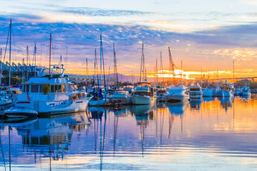 boats, marina at dawn, sunrise clouds, San Diego Harbor, California