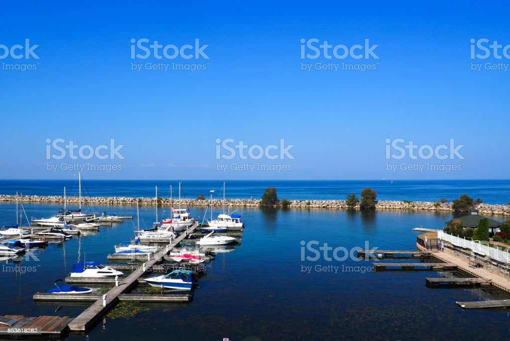 Boats moored at harbour stock photo