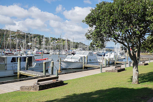 Boats moored at Whangarei Marina stock photo