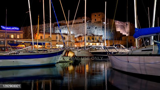 Naples, Italy - October 08, 2019: Boats Moored in Borgo Marinari.