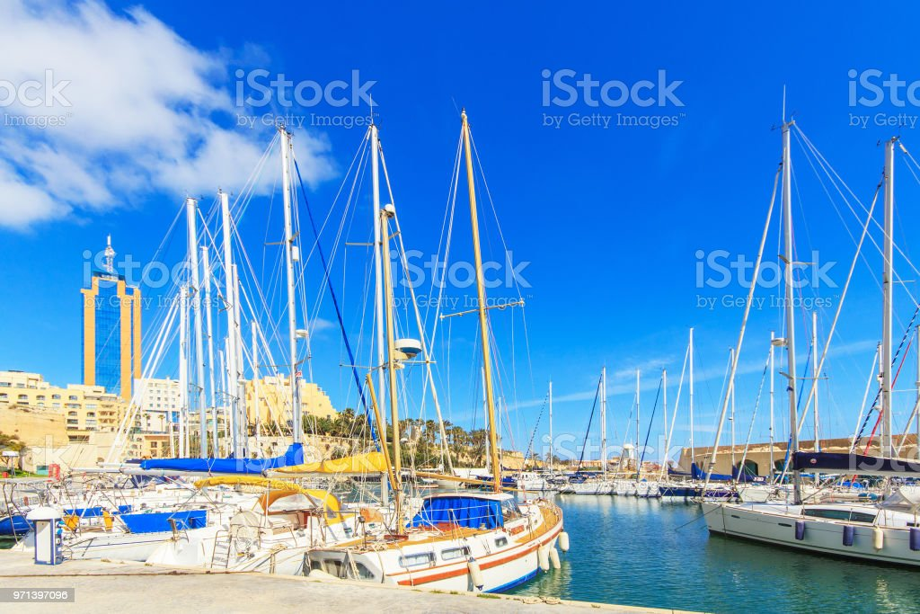 Boats moored in Grand Harbour marina at Birgu, Valletta stock photo