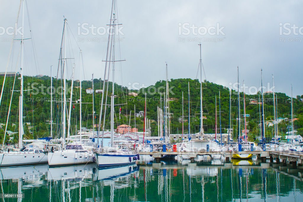 Boats moored in Grenada stock photo