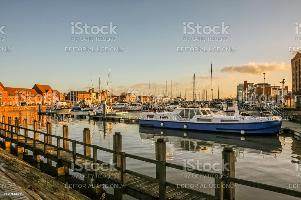 Boats moored in Hull Marina in England stock photo