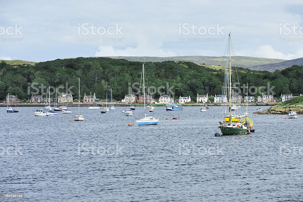 Boats moored in the Firth of Clyde, Scotland stock photo