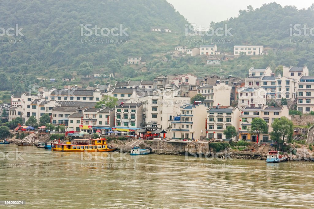 Boats moored in the town of Yiching stock photo