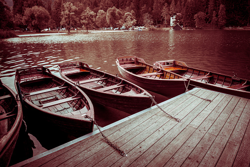 Boats Moored On Lake Bled In Slovenia