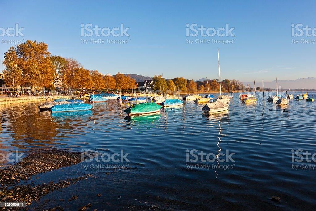 Boats moored on Lake Pfaeffikon stock photo