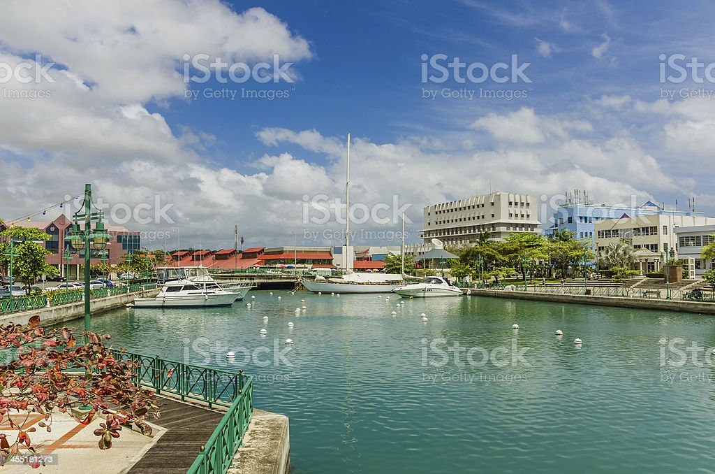 Boats Moored to the Quay at Bridgetown Harbour stock photo
