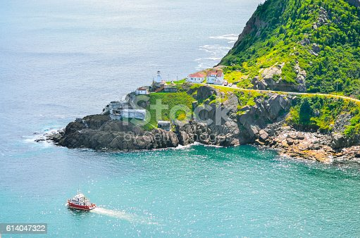 Wonderful view - summer day over the coastline and cliffs of a Canadian National Historic Site, Fort Amherst in St John's Newfoundland, Canada.  A tour boat passes through.