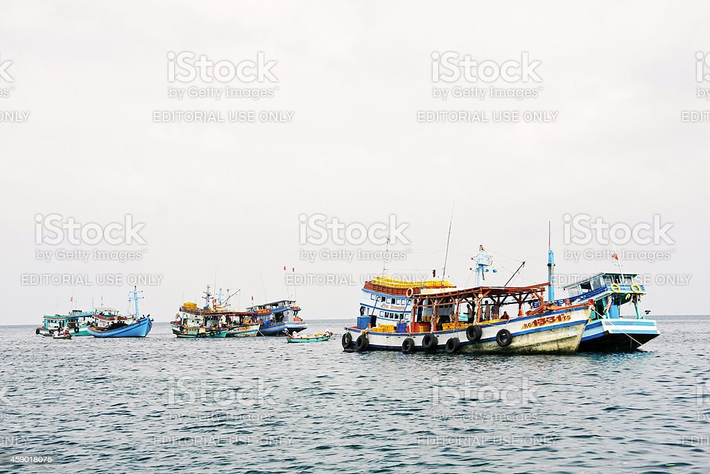 Boats near island just south of Phu Quoc royalty-free stock photo