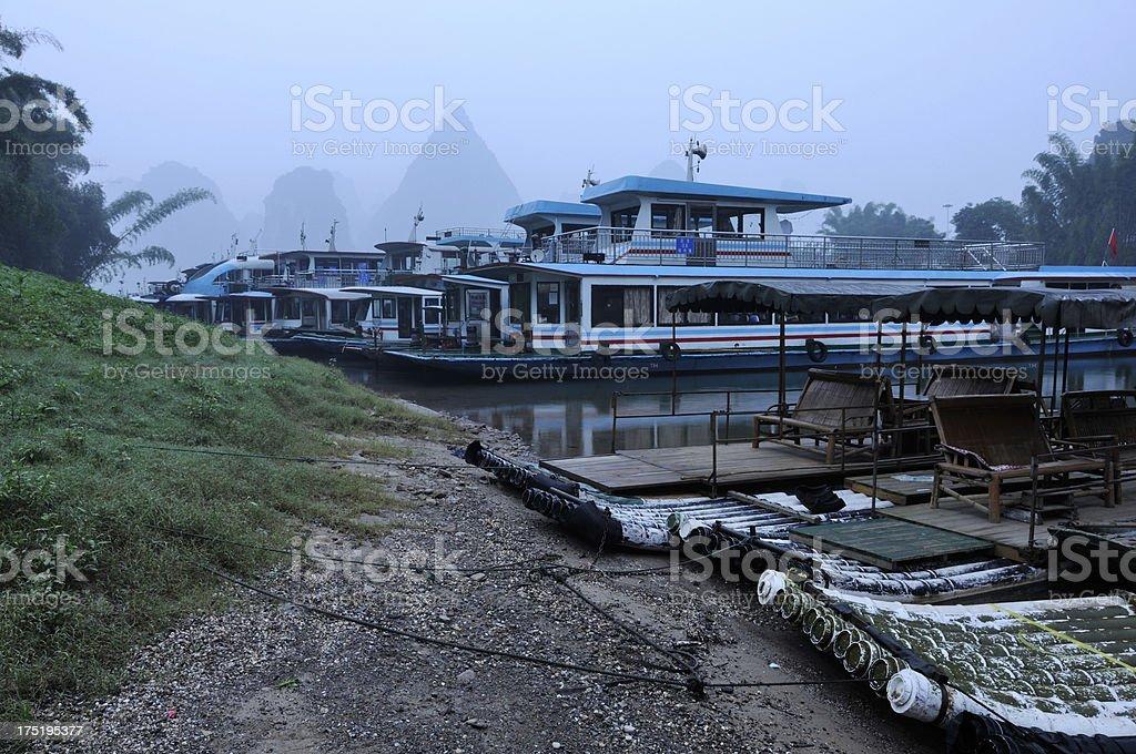 Boats near the bank of Li River in China royalty-free stock photo