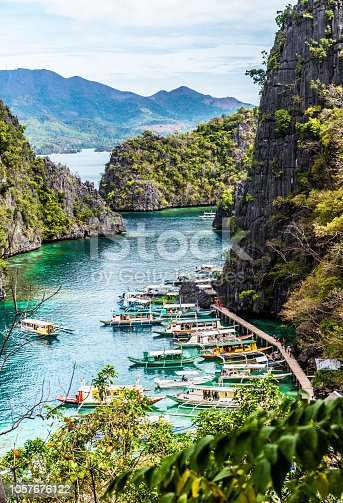 Boats near the shore, Busuanga, Coron, Philippines. With selective focus. Vertical