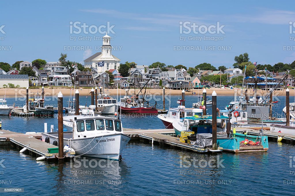 Boats of Provincetown, MA in Cape Cod stock photo