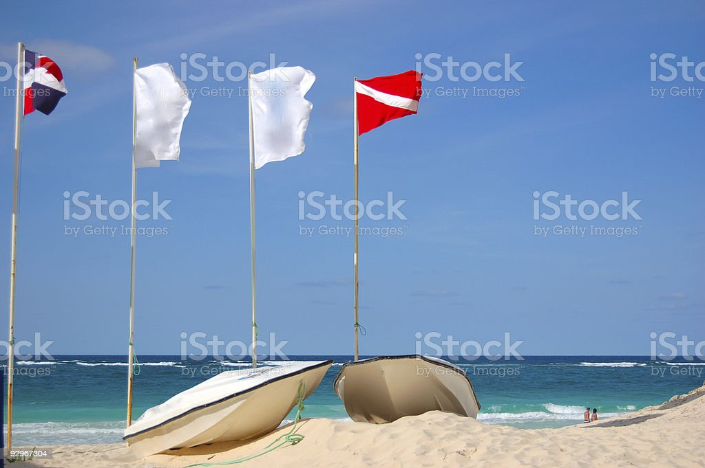 Boats on a beach in Dominican Republic royalty-free stock photo
