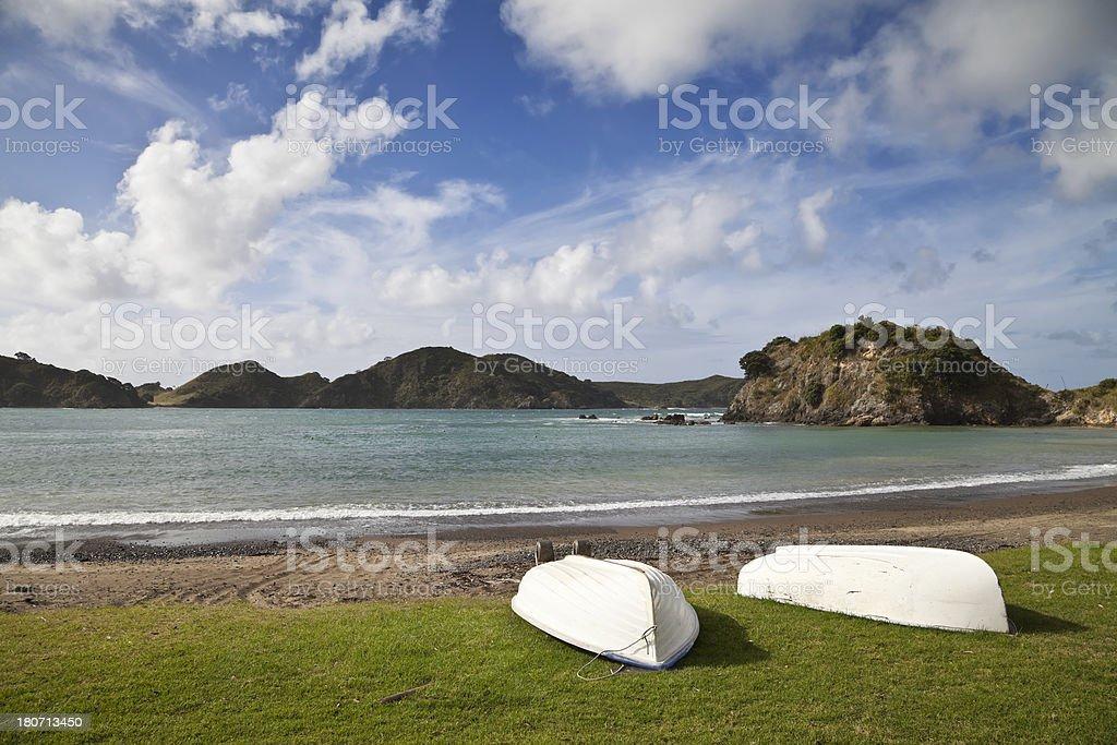 boats on a beach royalty-free stock photo
