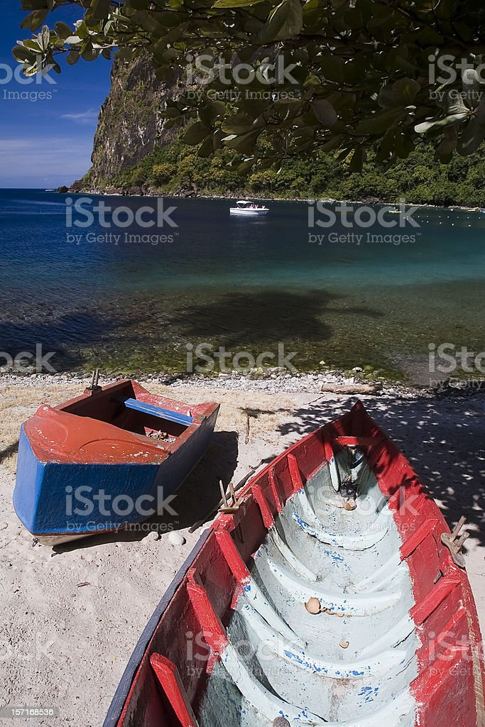 Boats on a Caribbean Beach royalty-free stock photo