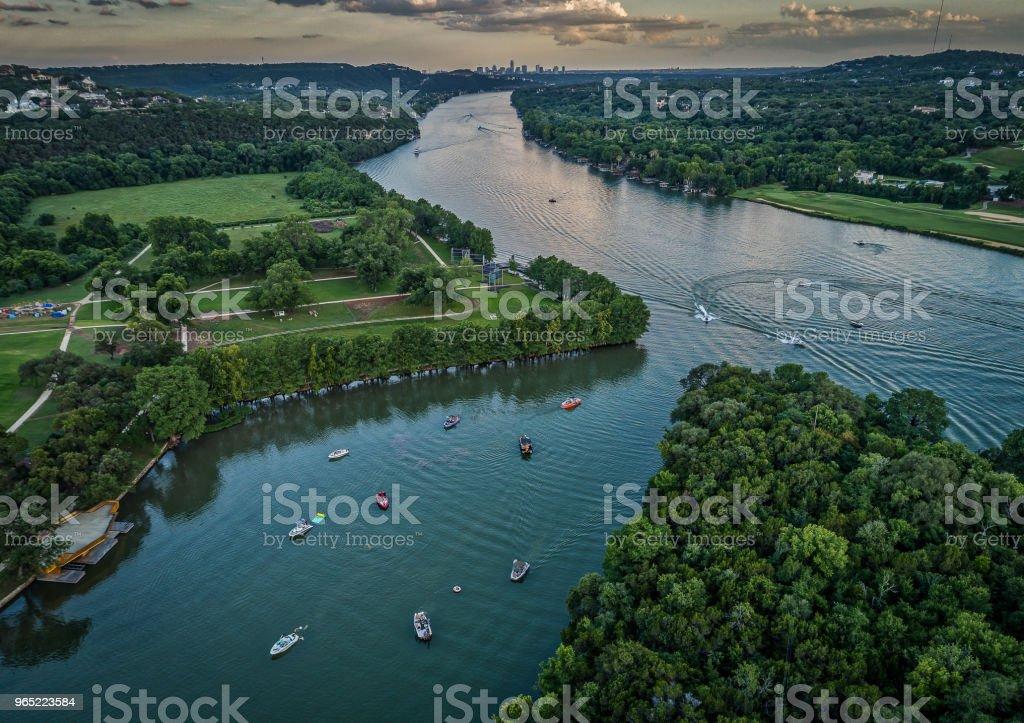 Boats on a Lake in Austin, Texas zbiór zdjęć royalty-free