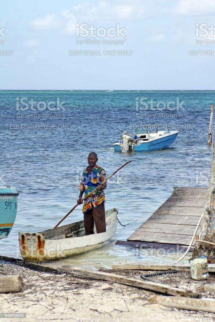 Boats on Ambergris Key stock photo