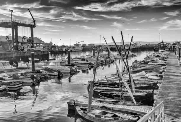 Boats on Bueu harbor stock photo
