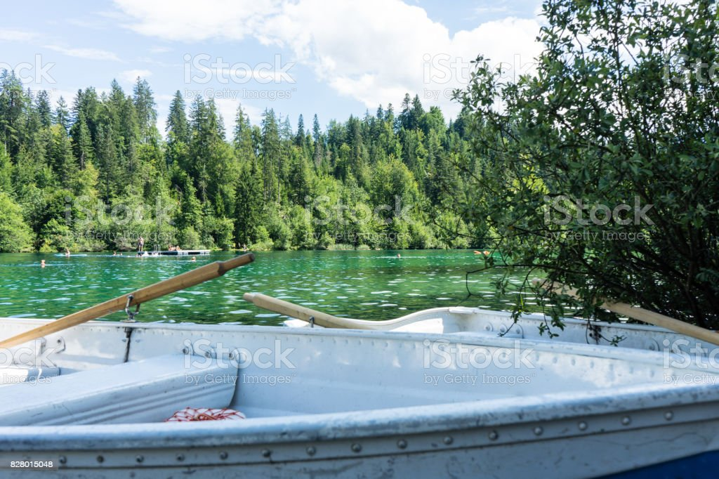 boats on crestasee lake ready to use stock photo