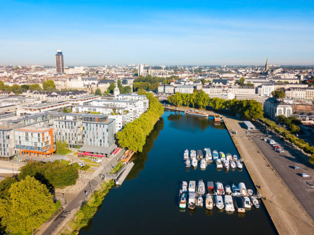 Boats on Erdre River, Nantes stock photo