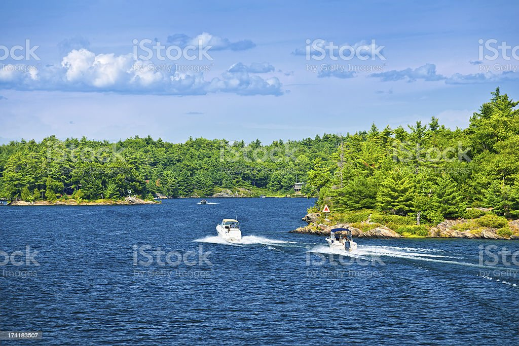 Boats on Georgian Bay royalty-free stock photo