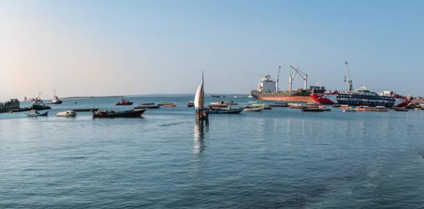 Boats on Indian Ocean in Zanzibar stock photo
