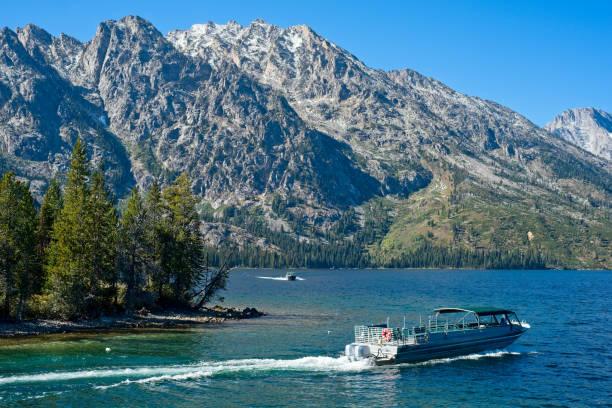 Boats on Jenny Lake stock photo