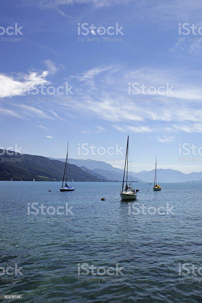 Boats on Lake Attersee royalty-free stock photo