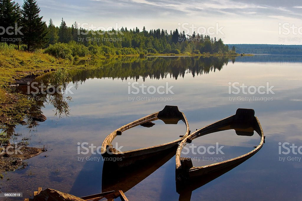 Boats on lake. Morning. royalty free stockfoto