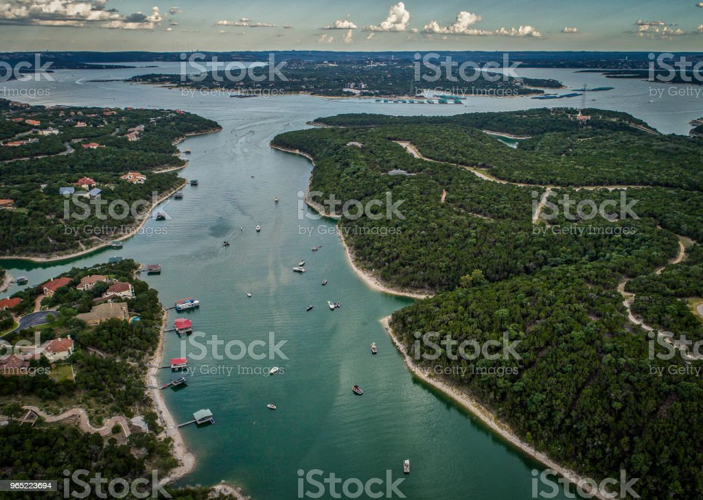 Boats on Lake Travis in Austin, Texas royalty-free stock photo