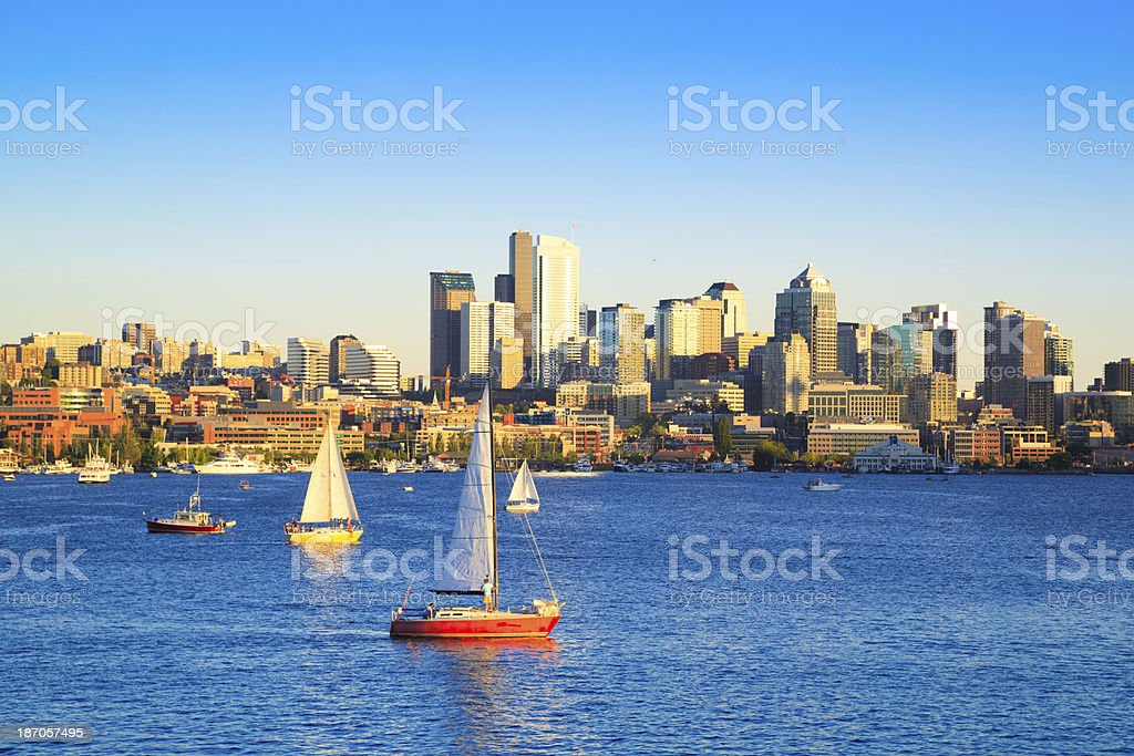 Boats on Lake Union, Seattle stock photo