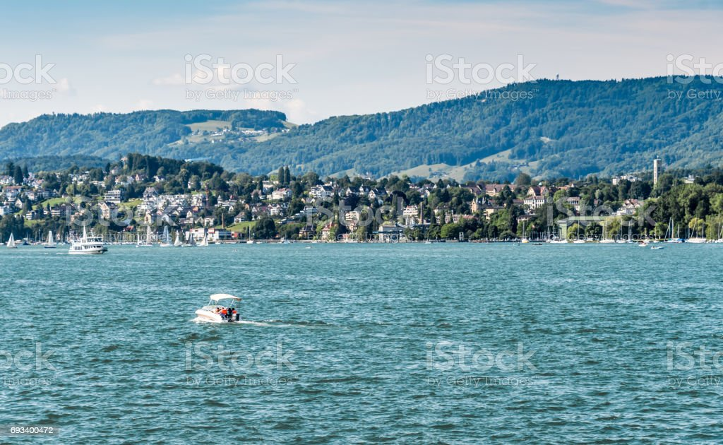 Boats on Lake Zurich stock photo