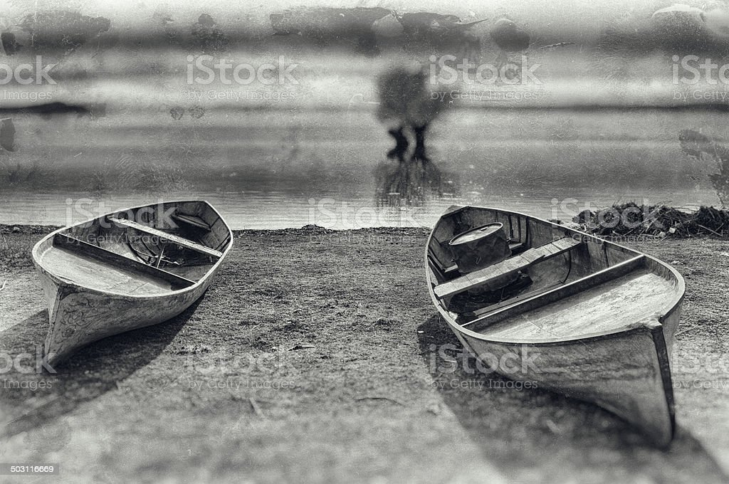 Boats on Lakeside, Civril, Denizli, Turkey stock photo
